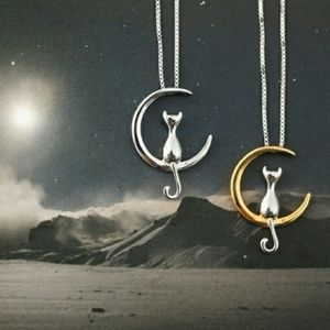 Dainty Silvertone or Goldtone Cats Moon Necklace